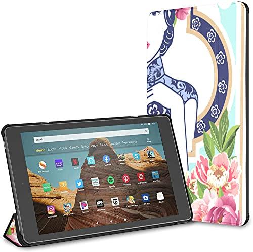 Custodia per tablet Chinese Lady Fire Hd 10 blu e bianca (9a settima generazione, versione 2019 2017) Custodia protettiva Kindle Custodia Kindle Fire 10 HD Auto Wake Sleep per tablet da 10,1 pollici