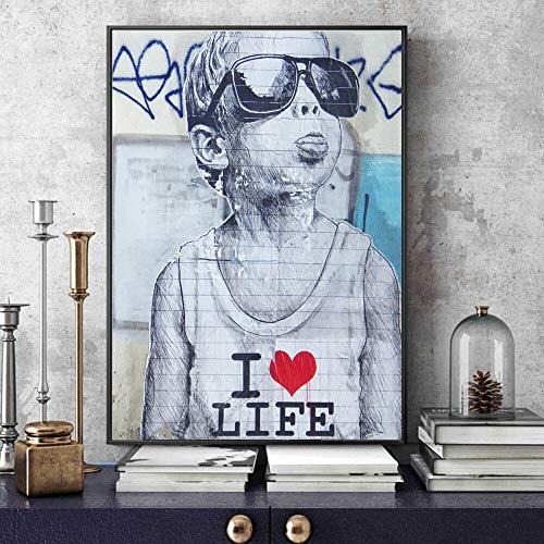 Lamour is het antwoord op wand, graffiti-kunstdrukken op canvas, motief boze, kinderen, pop-art, canvas, posters en graveren, 40 x 60 cm