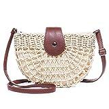 JOSEKO Bolso de hombro tejido de paja para mujer, bolso de playa de verano, bolso bandolera de paja, bolso de mano tejido, viajes al aire libre (beige # 01)