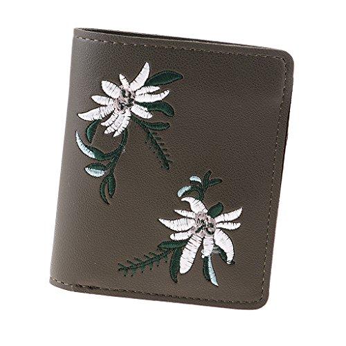 Sharplace Portefeuille Femme Porte-Monnaie Rétro Broderie Pochette Carte Support Florale - Vert profond, comme décrit