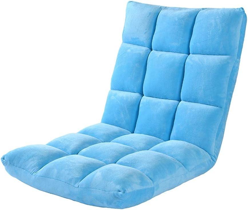 GFL-Sillas Silla de Piso 6 Archivos Ajustables Plegables de la bahía Sillas de Windo Solo sofá Recliners de Ocio Carga 120kg (A++) (Color : Azul)