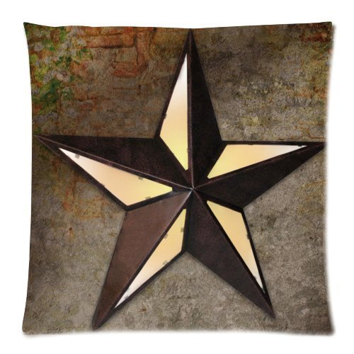Vintage Western Texas Star Throw Pillow Case Sofa Bed Home Decor Cushion Cover 18x18 (twin sides) Zippered