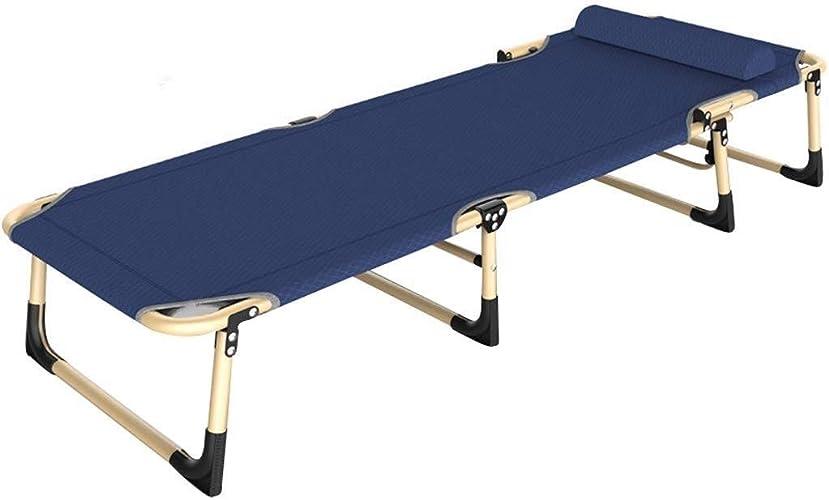 Chaise longue Lit De Camping Pliant, Portative avec Appui-tête pour Le Camping Et Les Loisirs De Jardin (Couleur   bleu)