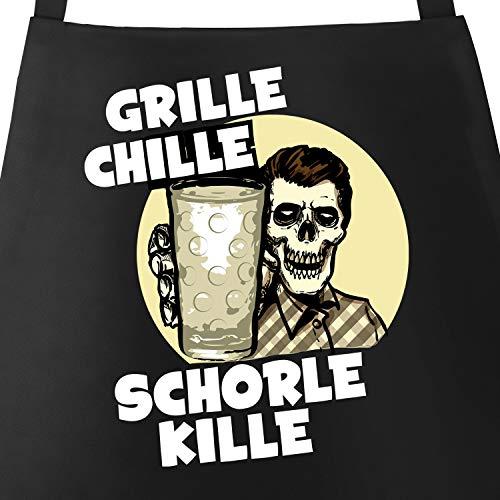 MoonWorks® Grill-Schürze für Männer mit Spruch Grille Chille Schorle kille Spruch Skull Dubbeglas Baumwoll-Schürze Küchenschürze schwarz Unisize