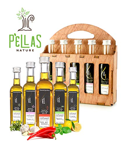 Organic herbs infused Greek extra virgin olive oil, 5 flavors - Basil, Lemon