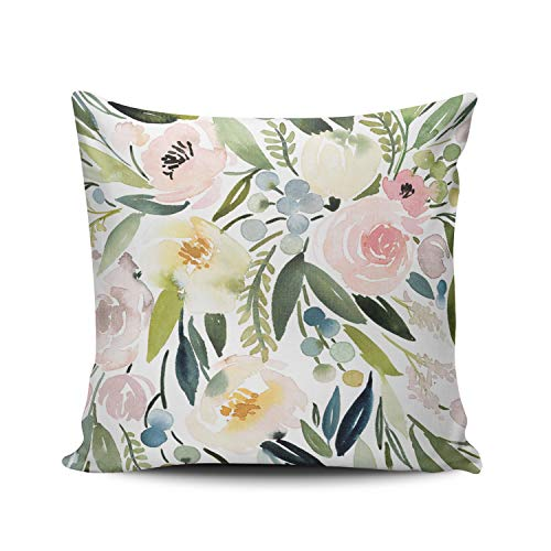 MUKPU Fashion Home Decoration Design Throw Pillow Case Green and Pink Watercolor Floral 20X20 Inch Square Custom Pillowcase Cushion Cover Double Sided Printed (Set of 1)