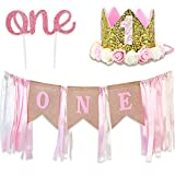 RUBFAC 1st Birthday Decoration for Girl, First Birthday Number 1 Crown,'one' Burlap Banner High Chair Decoration and Cake Topper