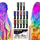 Byhoo Haarkreide-Set mit 13 Farben, temporäre Haarfarbe, Glitzer-Haarkreide-Kämme für Mädchen,...