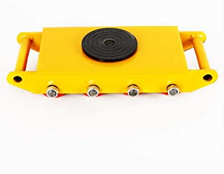 12T 26400lb Heavy Duty Machine Dolly Skate Roller 360° Rotation Dolly Skate 6-Rollers Industrial Machinery Mover Yellow