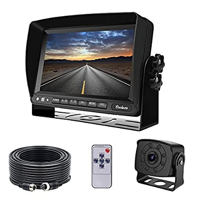 Backup Camera Monitor Kit Van, RV, Upgraded 175º Wide View Wired Infrared HD Small Rear View Cam 7 inch Adjustable Monitor Truck, Trailer, Bus, Oversize Vehicles