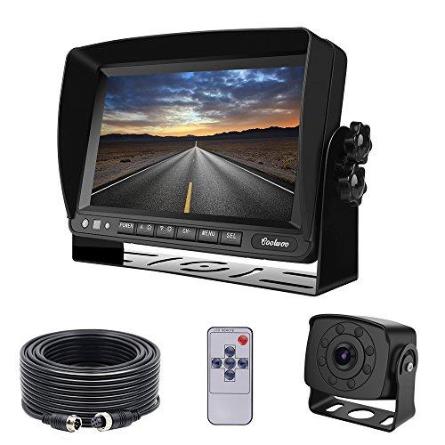 "Coolwoo Backup Kamera-Kit, 7\"" TFT LCD Kfz-Monitor + 8 IR-LED Rückfahrkamera mit Nachtsicht, 175 ° Winkel, IP68 + 20m Anschlusskabel Für LKW/Wohnmobil/Bus/Anhänger (12-32 Volt)"
