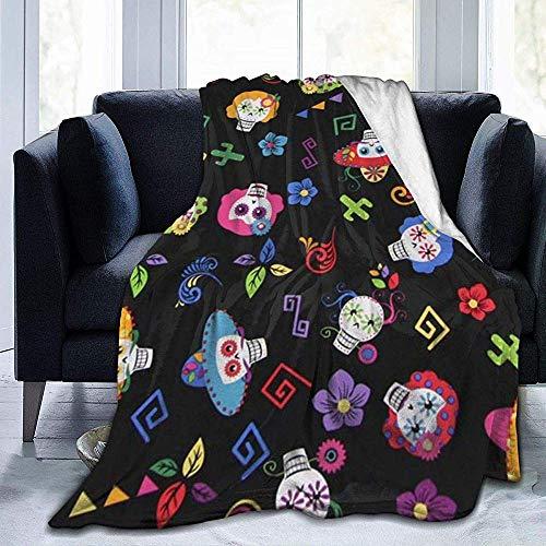 Flower Cactus Sugar Skull Print Ultraweiche, leichte, gemütliche, warme, Flauschige Plüschdecke aus Mikrofaser für das Wohnzimmer auf der Schlafcouch