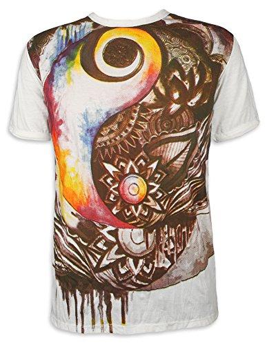 Sure Clothing Camiseta Hombre Espíritu Nativo Yin y Yang Totem Chaman Indio Yoga India Zen Alternativa Ocio Hippie Boho Goa Guru Reggae (Blanco L)
