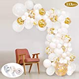 SPECOOL 113Pcs Balloon Garland Kit Balloon Arch Kit Blanc Et Or Confettis Rempli...
