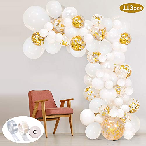 Kit pallone a palloncino 113Pcs Kit arco palloncino SPECOOL Kit palloncini in lattice riempito di coriandoli bianchi e oro Con nastro a palloncino per decorazioni di compleanno Sfondo del fondale