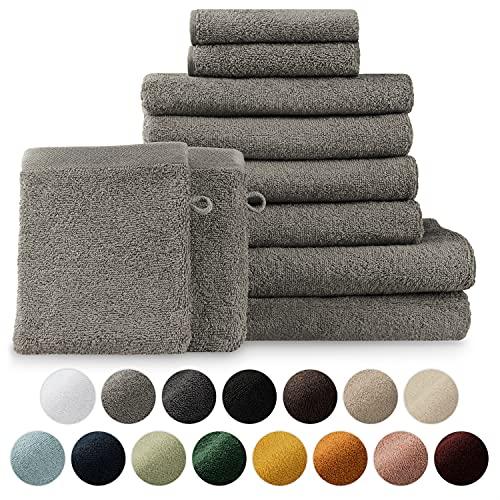 Blumtal Set de 2 Toallas de Baño + 4 Toallas de Lavabo + 2 Toallas de Tocador + 2 Toallas para la Cara - Toallas Suaves y Absorebentes, 100% algodón, Certificado Oeko-Tex 100, Gris