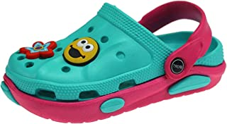 Carcassi Children's Kids Girls Boys Holiday Summer Pool Clogs Sandals Shoes Size 6-2 (Aqua/Pink, 13)