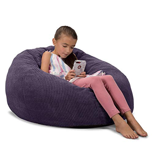 Lounge Pug, CloudSac 200 Kinder, Riesen Memory-Schaum Kinder Sitzsack, Pom-Pom Lila