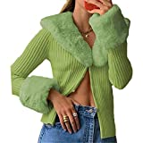 Women's Fluffy V-Neck Cropped Knit Cardigan Sweater Slim Long Sleeve Button Closure Short Sweater Coat (S) (Green, L)