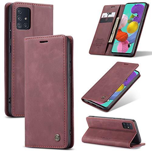 KONEE Hülle Kompatibel mit Samsung Galaxy A51, Lederhülle PU Leder Flip Tasche Klappbar Handyhülle mit [Kartenfächer] [Ständer Funktion], Cover Schutzhülle für Samsung Galaxy A51 - Weinrot