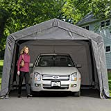 ShelterLogic 12' x 16' x 8' Garage-in-a-Box Compact Car and Small Vehicle All-Season Metal Peak Style Roof Portable Outdoor Garage, Gray (62697)