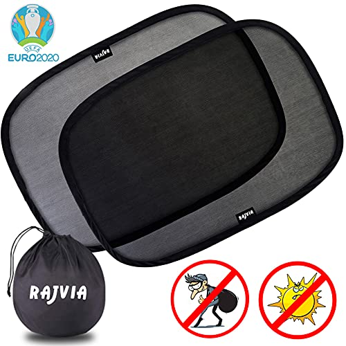 Rajvia Parasole Auto per bambini - Extra scuro con protezione UV certificata - Set di 2 Tendine Parasole autoadesivi per bambini,Visiere Parasole...