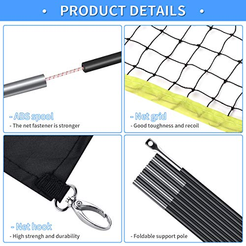 Badminton Net Set for Garden Portable Folding Removable Badminton Net with Poles and Stand Carry Bag Lightweight Easy Setup for Court Backyard Beach Indoor Outdoor(9.8 FT)