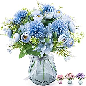MALOOW 4pcs Artificial Flowers Bouquet with Vase Fake Peony Silk Hydrangea Wildflowers, Flower Centerpieces Home Decor for Tables with Vase (Blue)