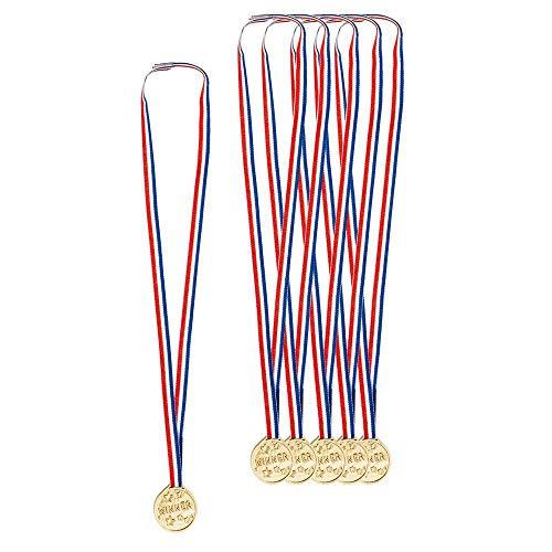 Boland 42055 - Medaille Winner mit Stoffband, 6 Stück, Plastik, Preisverleihung, Pokal, Siegerehrung, Partyspiel, Gewinner, Wettbewerb