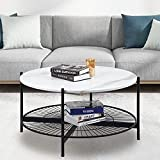 Usinso Modern Round Coffee Table with Iron Storage Shelf and Black Legs for Living Room, Circle Coffee Table, Faux Marble Texture, White, Easy Assemble