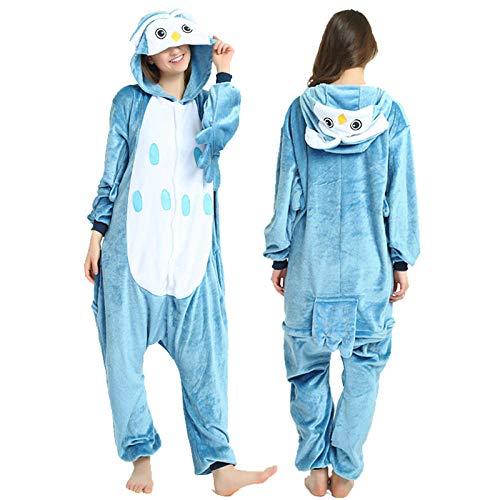AdorabFitting Pijamas De Toalla con Capucha Albornoces Mujeres Hombres Adultos Azul Búho