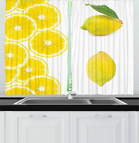 "Ambesonne Lemon Kitchen Curtains, Ripe Exotic Sour Citrus Fruit Lemon Leafage Lemonade Food Photo, Window Drapes 2 Panel Set for Kitchen Cafe Decor, 55"" X 39"", Lime Green"
