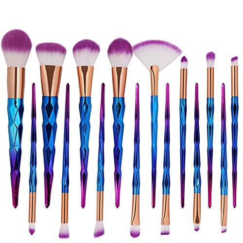 Pinceau Diamant Cils Premium Sourcils Fond de teint Ombre à Paupières Contour des sourcils Mélange Pinceaux Maquillage Pinceaux Maquillage Ensemble (15pcs) Brosse douce