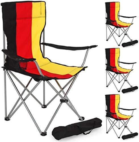 Woodtree Silla Plegable de Camping tapizados con Soporte for Bebidas y el Bolso cantidad Paquete -, Tamaño: 2 Piezas, Color: Negro-Verde. (Color : Germany Flag, Size : 1 pc.)