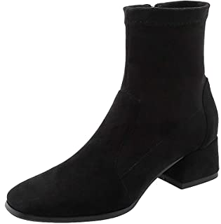 BalaMasa Womens ABS14135 Mid-Top Closed-Toe Chukka Black Pu Boots - 2.5 UK (Lable:34)