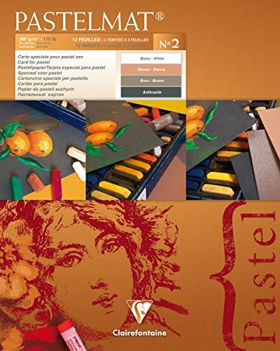 Clairefontaine 96007C - Un bloc encollé papier Pastelmat 12 feuilles 24x30 cm 360g couleurs assorties (Blanc, Sienne, Brun et Antracite)
