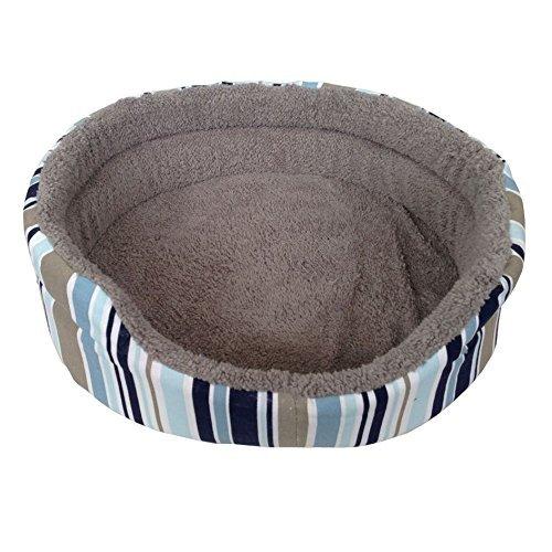 ASC - Cama para mascotas de tamaño mediano, suave, con estampado de rayas azules, para perro, gato, cachorro, gatito, forro polar suave