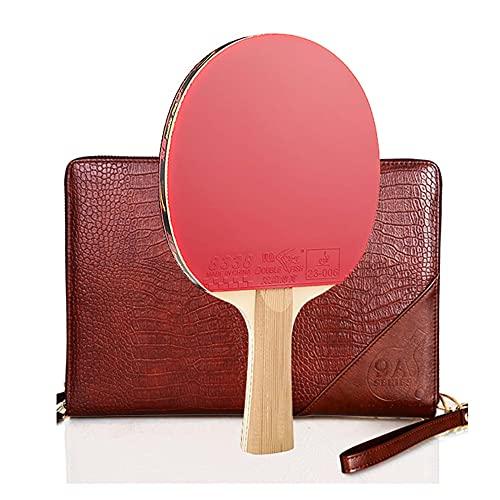 LINGOSHUN Juego de Raquetas de Ping Pong Profesional,Raquetas de Tenis de Mesa de Carbono con Bolsa Portátil,Goma Aprobada por la ITTF / 9 Stars/Long handle