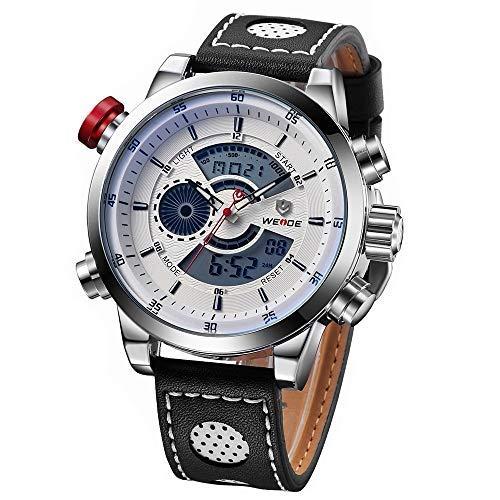 WEIDE - Reloj analógico digital deportivo para hombre, correa de piel, cronómetro, alarma, luz de fondo, resistente al agua