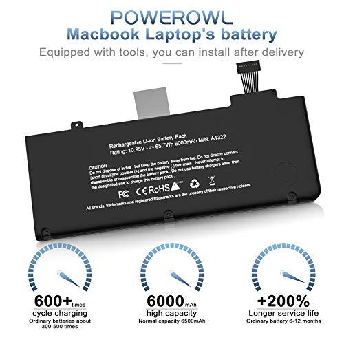 Powerowl A1322 A1278 Akku für MacBook Pro Akku 13 Zoll Mitte 2012 2010 2009 Anfang 2011 und Ende 2011, passend für MacBookPro 5,5 7,1 8,1 9,2 MacBook Pro A1278 Akku A1322 Akku [10,95 V / 63,5 W]