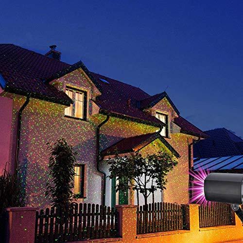LED Projektionslampe, Lichteffekt mit Schutzart IP65 für Innen und Außen, Beleuchtung als Gartenleuchte Projektor, Mauer Dekoration, Party Licht, Gartenlicht, Festen, Weihnachten (Stern Muster)