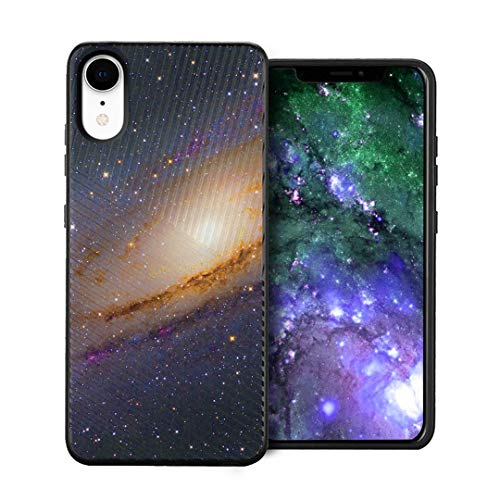 Capsule Case Compatible with iPhone XR [Embossed Diagonal Lines Hybrid Dual Layer Slim Armor Black Case] for iPhone XR- (Space Milkyway)