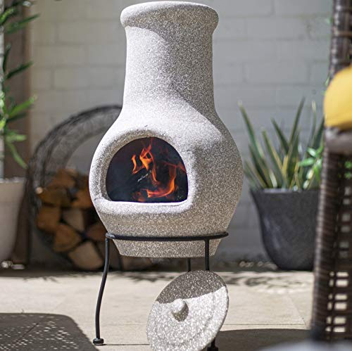 La Hacienda Wela Stone Effect Chiminea with Rain lid H70cm x D30cm
