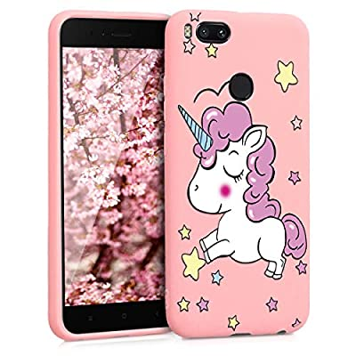 ZhuoFan Funda Xiaomi Mi A1, Cárcasa Silicona Rosa con Dibujos Diseño Suave Gel TPU Antigolpes de Protector Piel Case Cover Bumper Fundas para Movil Xiaomi MiA1, Unicornio 01