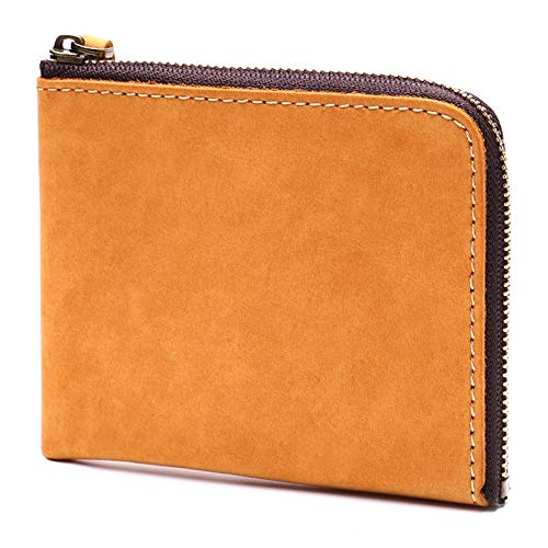 STCRAFT 薄い財布 L字ファスナー コンパクト なのに 大容量 メンズ レディース ギフトBOX付き (イエロー)