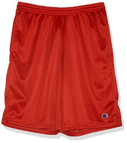 Champion Men's Long Mesh Short with Pockets,Crimson,Small