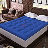Relaxfeel 600 GSM Microfiber 5 Star Cotton Single Bed Soft Waterproof Quilted Mattress Topper / Padding for Comfortable Sleep - Royal Blue - Twin Size - 48 Inche X 75 Inche