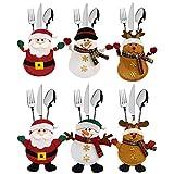 meteor Bolsita para Cubiertos de Navidad (6 Piezas), Decoracion Mesa Navidad de Papá, Mesa Navidad para Muñeco de Nieve
