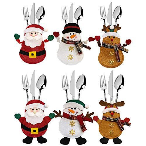 Meteor 6 Pezzi Natale portaposate Costume, Babbo Natale Pupazzo di Neve alci, Decorazione per Tavolo
