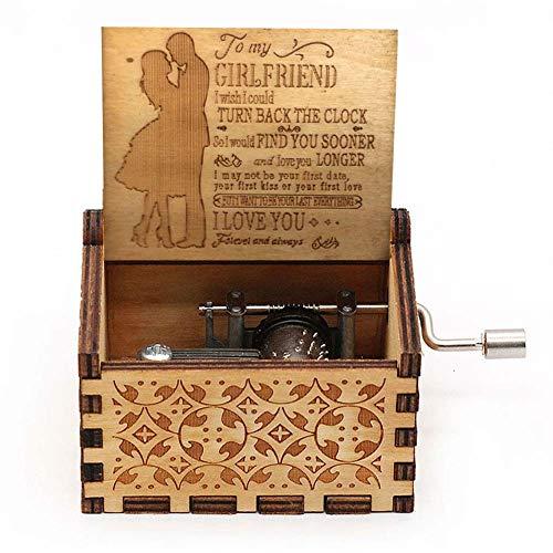 Hölzerne Spieluhr Holz Handkurbel Graviert Musikbox Vintage Hochzeit Valentinstag Weihnachten Geburtstagsgeschenk - You Are My Sunshine (to Girlfriend)